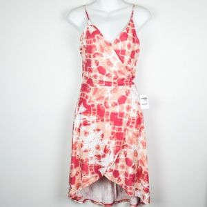 Pink & Peach Stretchy Wrap High-Low Tie-Dye Dress